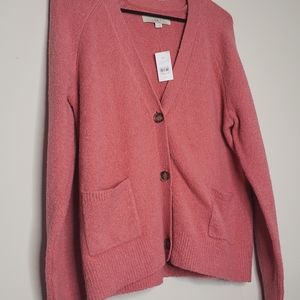 🆕️The LOFT button up coral pink sweater in size M